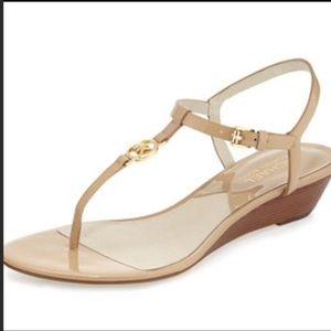 "Michael Kors ""Nora"" Nude Patent Wedge Sandals"